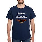 Female Firefighter Flames Dark T-Shirt