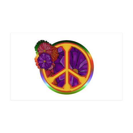 Flower Power Peace Sign 38.5 x 24.5 Wall Peel