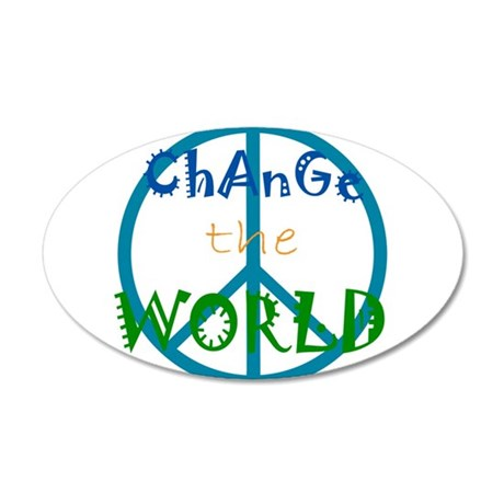 Change The World Peace Sign 22x14 Oval Wall Peel