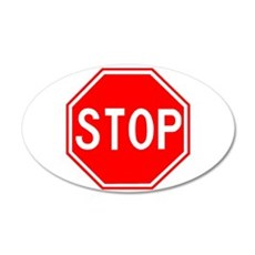 Stop Sign 22x14 Oval Wall Peel
