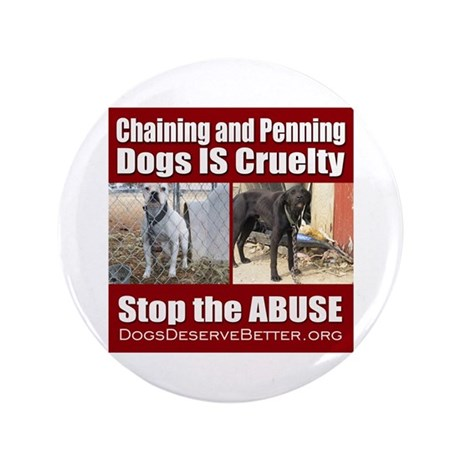 """Chaining IS Cruelty 3.5"""" Button"""