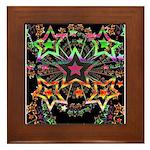 Psychedelic Stars Fractal Framed Tile