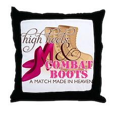High Heels & Desert Combat Boots Throw Pillow