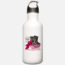 High Heels & Black Combat Boots Water Bottle