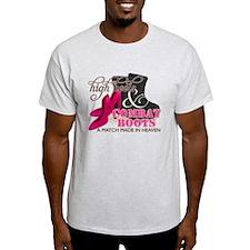 High Heels & Black Combat Boots T-Shirt
