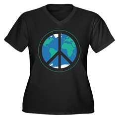 Peace on Earth Women's Plus Size V-Neck Dark T-Shi