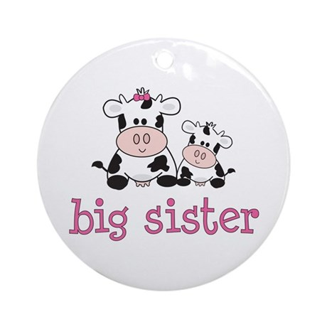 Big Sister Cow Ornament (Round)