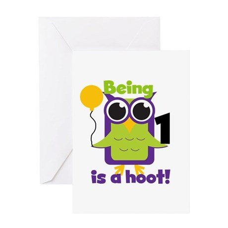 Hoot Owl 1st Birthday Greeting Card