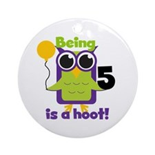 Hoot Owl 5th Birthday Ornament (Round)