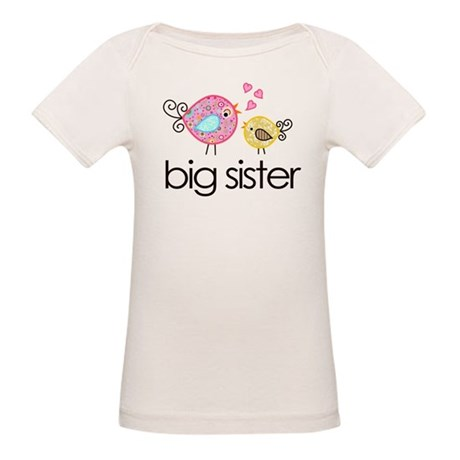 Whimsy Birds Big Sister Organic Baby T-Shirt