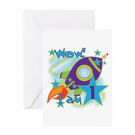 Rocket Ship 1st Birthday Greeting Card