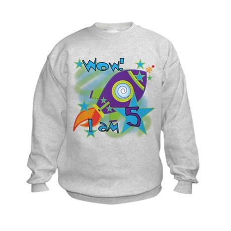 Rocket Ship 5th Birthday Kids Sweatshirt