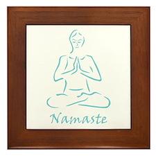 Namaste Teal Framed Tile