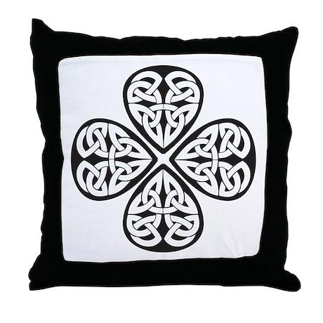 Black Shamrock Celtic Knot Throw Pillow