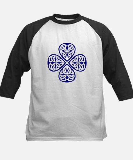 Navy Blue Shamrock Celtic Kno Kids Baseball Jersey