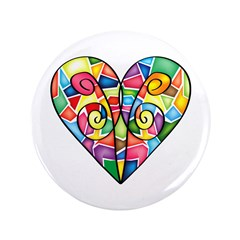 """Colorful Heart 3.5"""" Button"""