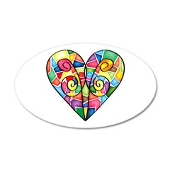 Colorful Heart 22x14 Oval Wall Peel