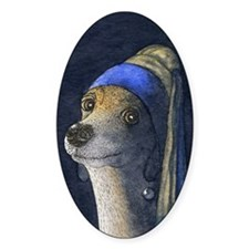 Dog with a pearl earring Decal