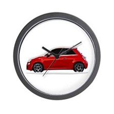 Snow Covered Fiat 500 Wall Clock