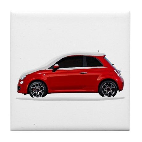 Snow Covered Fiat 500 Tile Coaster