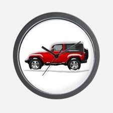 Snow Covered Jeep Wrangler Wall Clock