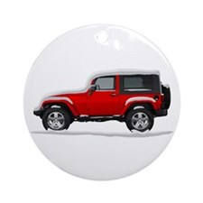 Snow Covered Jeep Wrangler Ornament (Round)