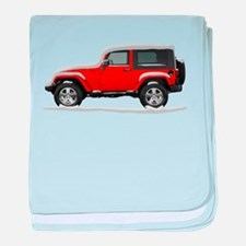 Snow Covered Jeep Wrangler baby blanket