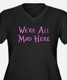 We're All Mad Here Alice Women's Plus Size V-Neck