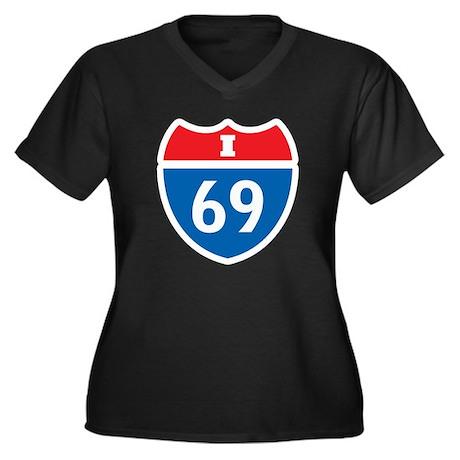 Interstate 69 I-69 Women's Plus Size V-Neck Dark T