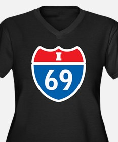 Interstate 69 I-69 Women's Plus Size V-Neck Dark T