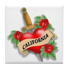 California Tattoo Tile Coaster