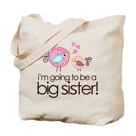 I'm Going to Be Big Sister Whimsy Bird Tote Bag