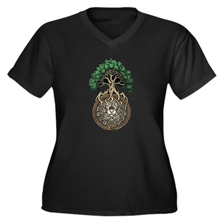 Ouroboros Tree Women's Plus Size V-Neck Dark T-Shi