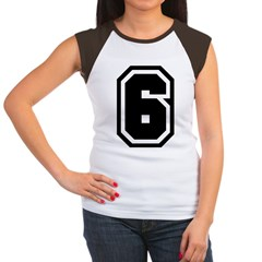 Varsity Uniform Number 6 Women's Cap Sleeve T-Shir