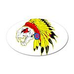 Skull Indian Headdress 22x14 Oval Wall Peel