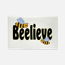 Beelieve in Black Rectangle Magnet