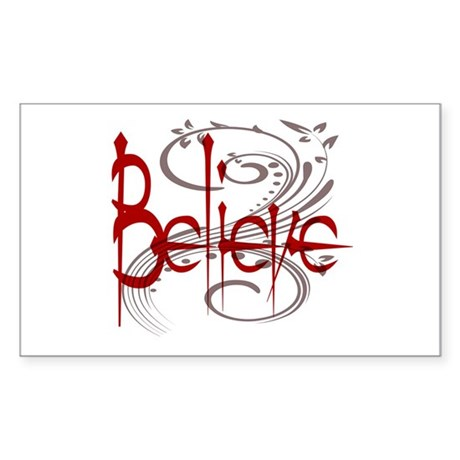 Maroon Believe with Gray Flou Sticker (Rectangle)