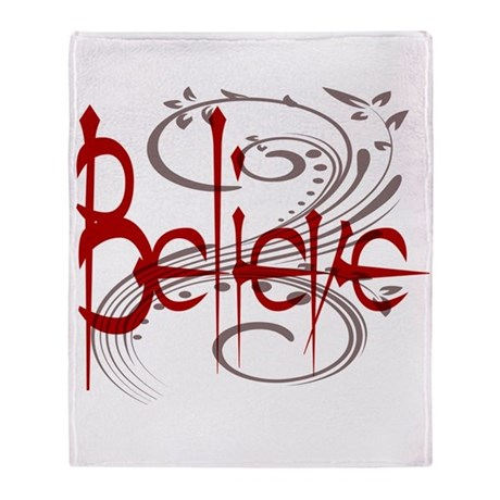 Maroon Believe with Gray Flou Throw Blanket