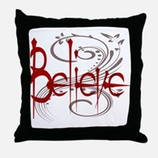 Maroon Believe with Gray Flou Throw Pillow