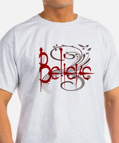 Maroon Believe with Gray Flou T-Shirt