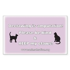 Declawing is Amputation Purple Decal