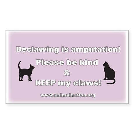 Declawing is Amputation Purple Sticker (Rectangle)