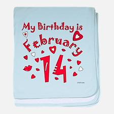 Valentine Feb. 14th Birthday baby blanket