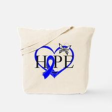 Colon Cancer Hope Heart Tote Bag