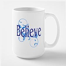 Blue Believe with Blue Floral Large Mug