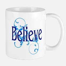 Blue Believe with Blue Floral Mug