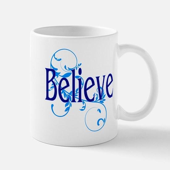 Blue Believe with Blue Floral Mug