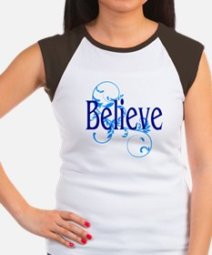 Blue Believe with Blue Floral Women's Cap Sleeve T