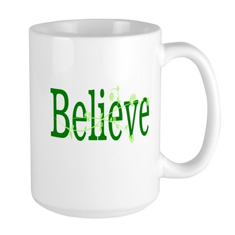 Green Believe with Green Rose Large Mug