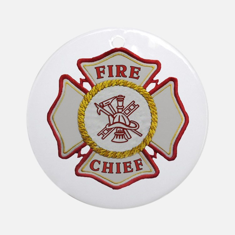 Fire Chief Maltese Ornament (Round)